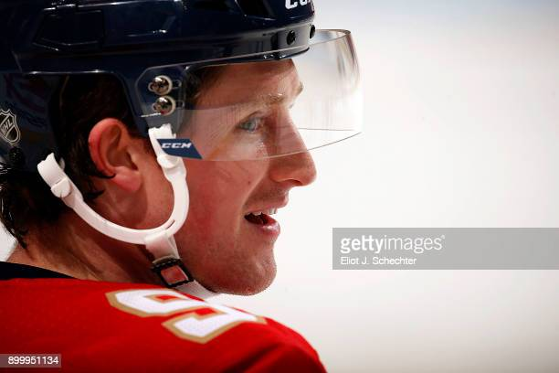 Jared McCann of the Florida Panthers smiles while warming up against the Philadelphia Flyers at the BBT Center on December 28 2017 in Sunrise Florida