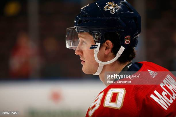 Jared McCann of the Florida Panthers stretches on the ice prior to the start of the game against the Winnipeg Jets at the BBT Center on December 7...