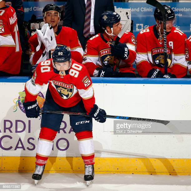 Jared McCann of the Florida Panthers waits for his goal to be reviewed and finalized against the Tampa Bay Lightning at the BBT Center on October 7...
