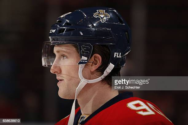 Jared McCann of the Florida Panthers wears a sticker on his helmet to commemorate the shooting at Ft Lauderdale airport earlier this month prior to...
