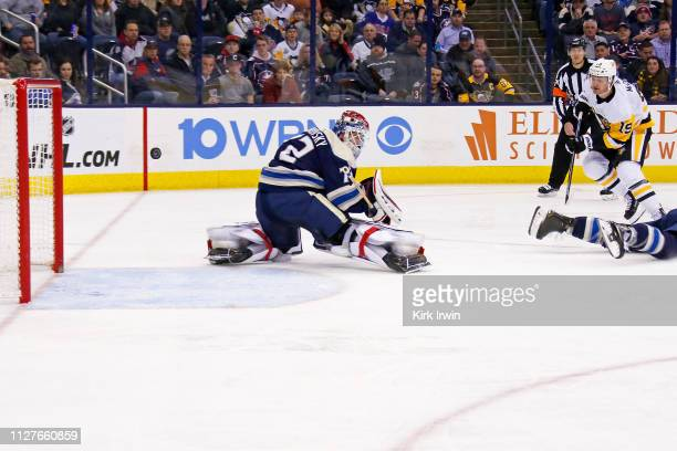 Jared McCann of the Pittsburgh Penguins beats Sergei Bobrovsky of the Columbus Blue Jackets for a goal during the third period on February 26 2019 at...