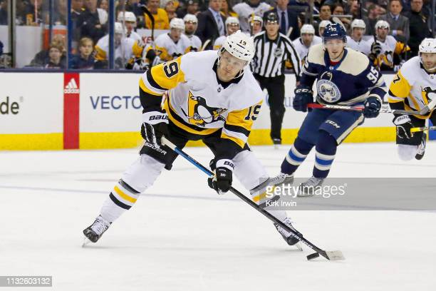 Jared McCann of the Pittsburgh Penguins controls the puck during the game against the Columbus Blue Jackets on February 26 2019 at Nationwide Arena...