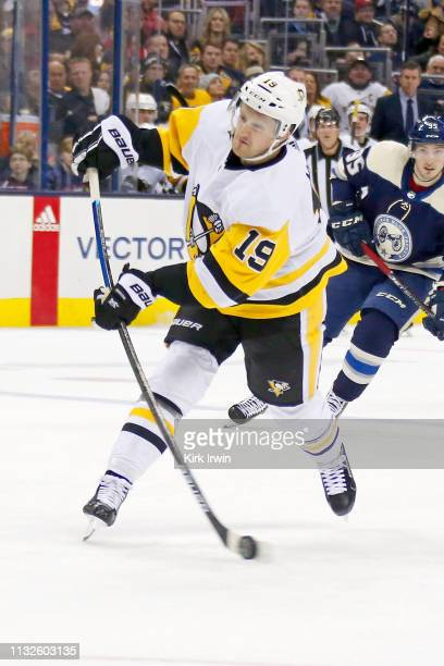 Jared McCann of the Pittsburgh Penguins shoots the puck during the game against the Columbus Blue Jackets on February 26 2019 at Nationwide Arena in...