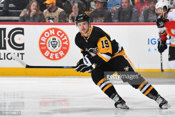 Jared McCann of the Pittsburgh Penguins skates against the Calgary Flames at PPG Paints Arena on February 16 2019 in Pittsburgh Pennsylvania