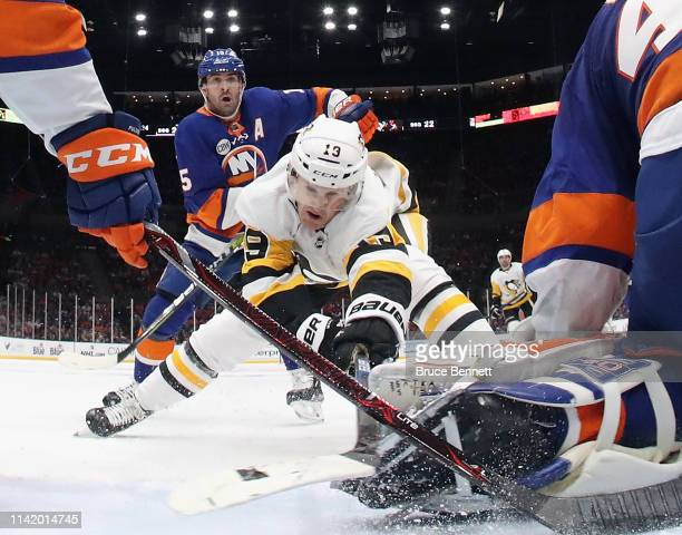 Jared McCann of the Pittsburgh Penguins skates against the New York islanders in Game One of the Eastern Conference First Round during the 2019 NHL...