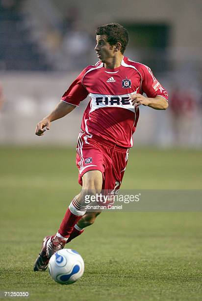 Jared Montz of the Chicago Fire controls the ball against the New England Revolution on June 11 2006 in the opening match at the new Toyota Park in...