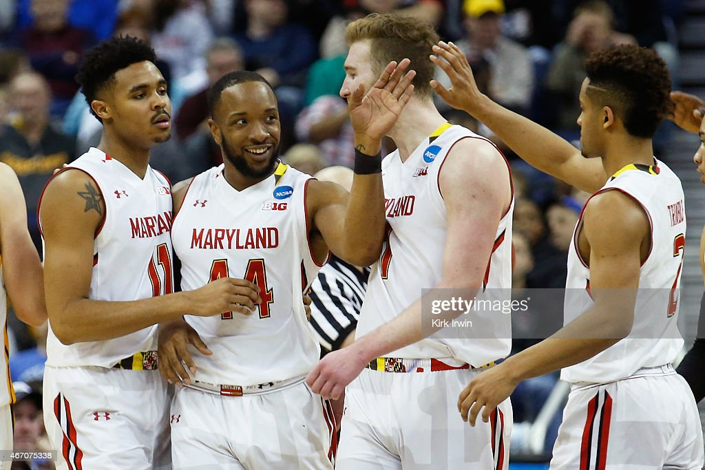 Jared Nickens #11, Dez Wells #44, Evan Smotrycz #1, and Melo Trimble #2 of the Maryland Terrapins react during the second round of the Men's NCAA Basketball Tournament at Nationwide Arena on March 20, 2015 in Columbus, Ohio.