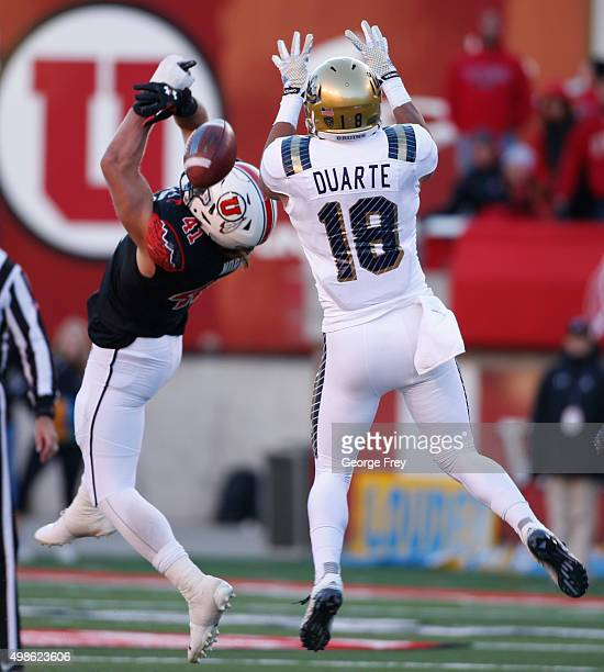 Jared Norris of the Utah Utes breaks up a pass from Thomas Duarte of the UCLA Bruins during the second half of a college football game at Rice Eccles...
