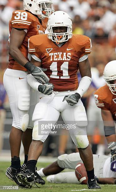 Jared Norton of the Texas Longhorns reacts on the field during the game against of the Kansas State Wildcats on September 29 2007 at Darrell K...
