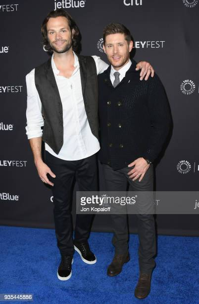 Jared Padalecki and Jensen Ackles attend the 2018 PaleyFest Los Angeles CW's Supernatural at Dolby Theatre on March 20 2018 in Hollywood California