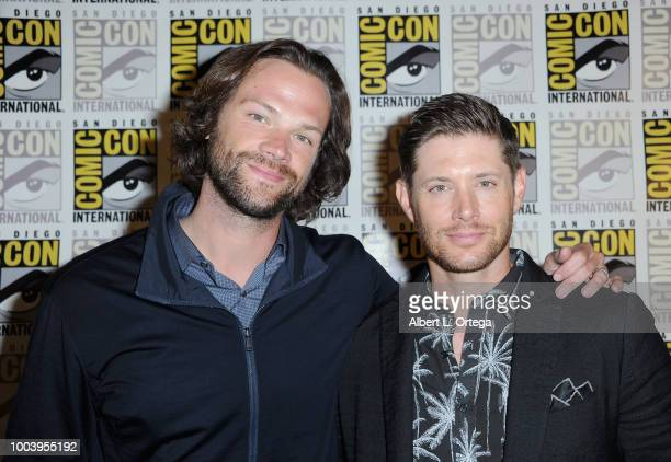 Jared Padalecki and Jensen Ackles attend the Supernatural special video presentation and QA during ComicCon International 2018 at San Diego...