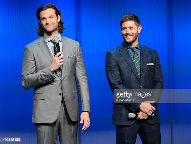 Jared Padalecki and Jensen Ackles speak onstage at The CW Network's 2014 Upfront at New York City Center on May 15 2014 in New York City