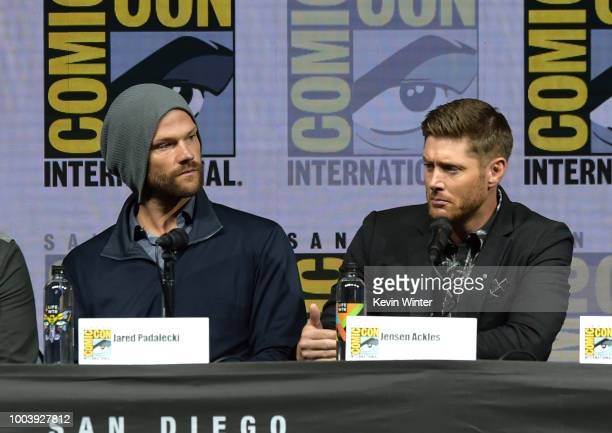 Jared Padalecki and Jensen Ackles speak onstage at the Supernatural special video presentation and QA during ComicCon International 2018 at San Diego...