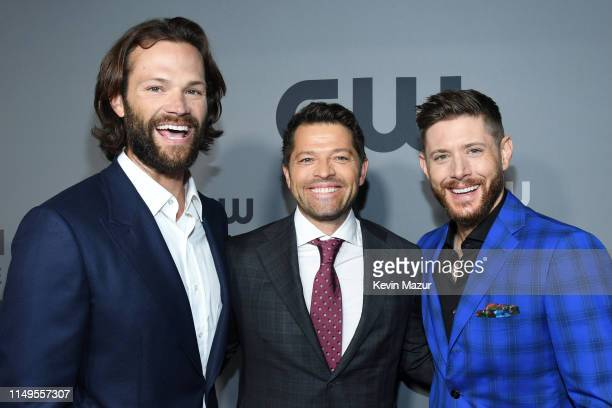 Jared Padalecki Misha Collins and Jensen Ackles of Supernatural attend the The CW Network 2019 Upfronts at New York City Center on May 16 2019 in New...