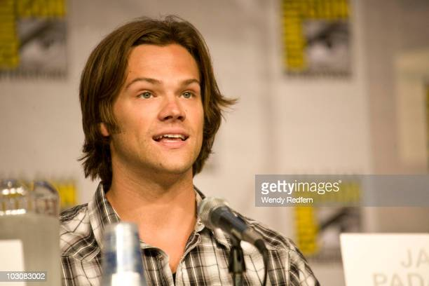 Jared Padalecki speaks at the Supernatural panel at ComicCon on July 25 2010 in San Diego California