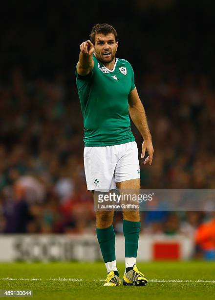 Jared Payne of Ireland in action during the 2015 Rugby World Cup Pool D match between Ireland and Canada at the Millennium Stadium on September 19...