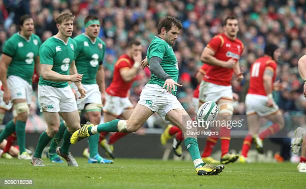 Jared Payne of Ireland kicks the ball upfield during the RBS Six Nations match between Ireland and Wales at the Aviva Stadium on February 7 2016 in...