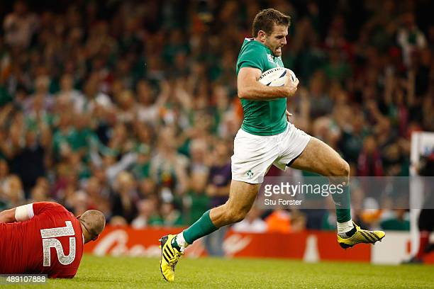 Jared Payne of Ireland scores the fifth try for Ireland during the 2015 Rugby World Cup Pool D match between Ireland and Canada at the Millennium...