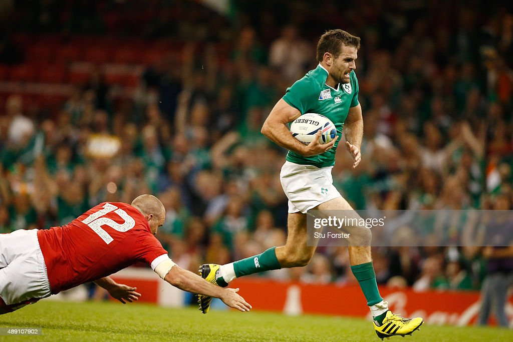 Jared Payne of Ireland scores the fifth try for Ireland during the 2015 Rugby World Cup Pool D match between Ireland and Canada at the Millennium Stadium on September 19, 2015 in Cardiff, United Kingdom.