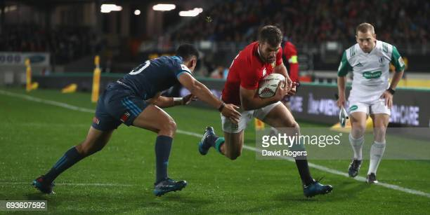 Jared Payne of the Lions is caught just short of the try line during the match between the Auckland Blues and the British Irish Lions at Eden Park on...