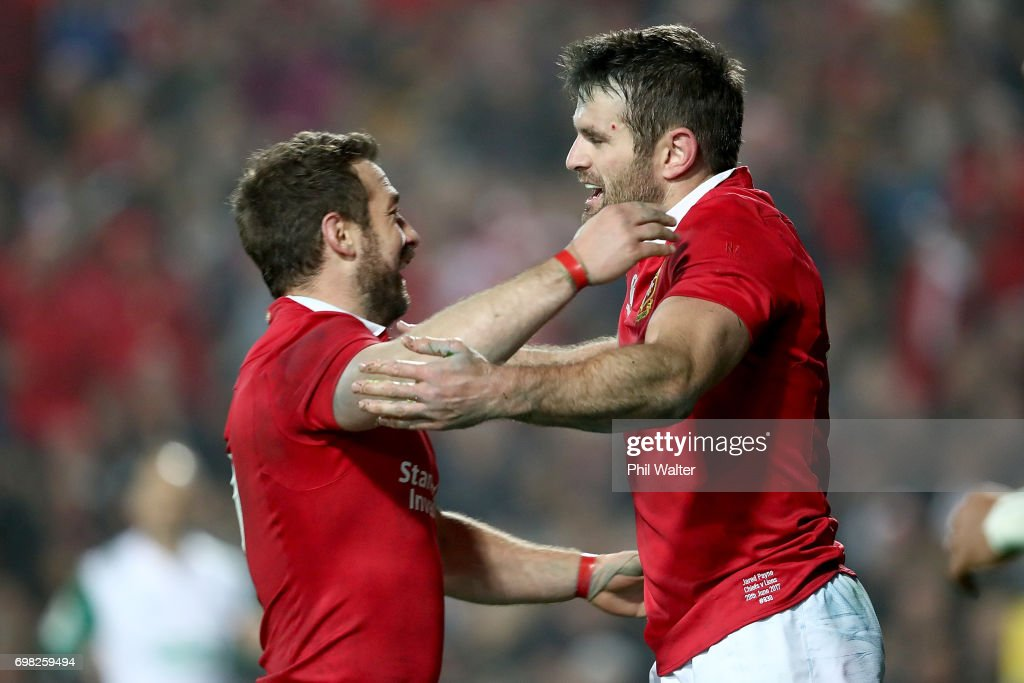 Jared Payne of the Lions (R) is congratulated on his try by Robbie Henshaw (L) during the match between the Chiefs and the British & Irish Lions at Waikato Stadium on June 20, 2017 in Hamilton, New Zealand.