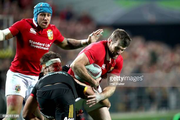 Jared Payne of the Lions is tackled during the match between the Chiefs and the British Irish Lions at Waikato Stadium on June 20 2017 in Hamilton...