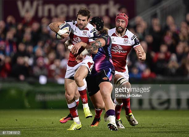 Jared Payne of Ulster and Harry Williams of Exeter Chiefs during the Champions Cup Pool 5 game at Kingspan Stadium on October 22 2016 in Belfast...