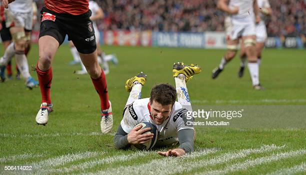 Jared Payne of Ulster scoring a try during the European Champions Cup Pool 1 round 6 game between Ulster and Oyonnax at Kingspan Stadium on January...