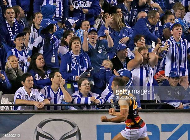 Jared Petrenko of the Crows celebrates after kicking the winning goal during the round nine AFL match between the North Melbourne Kangaroos and the...