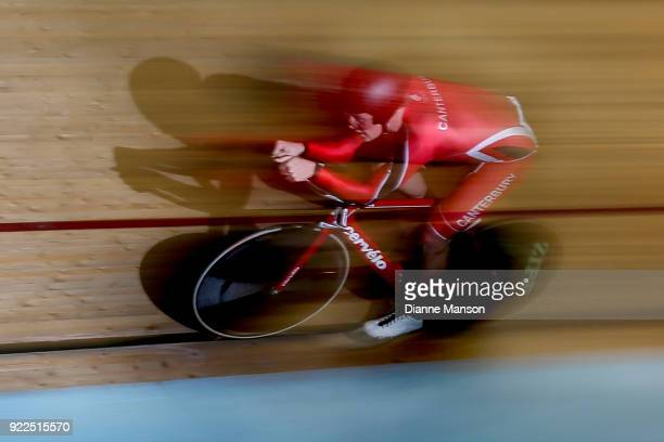Jared Pidcock of Canterbury competes in the U19 Men 3000m IP during the New Zealand Track Cycling Championships on February 22 2018 in Invercargill...