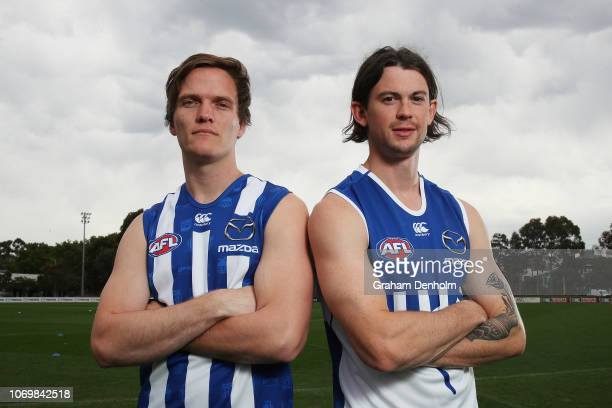 Jared Polec and Jasper Pittard of the Kangaroos pose during a North Melbourne Kangaroos AFL media opportunity at Arden Street Ground on November 20...