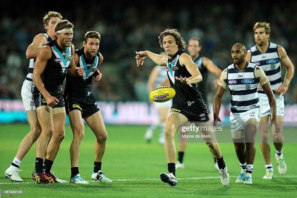 Jared Polec of the Power kicks the ball during the round six AFL match between Port Adelaide Power and the Geelong Cats at Adelaide Oval on April 27, 2014 in Adelaide, Australia.