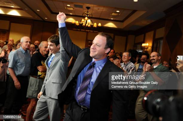 Jared Polis front celebrates winning the Colorado 2nd Congressional District Democratic ticket with his partner Marlon Reis at the Renaissance Hotel...