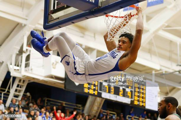 Jared Rhoden of the Seton Hall Pirates dunks against the Wagner Seahawks during the second half of a college basketball game at Walsh Gym on November...