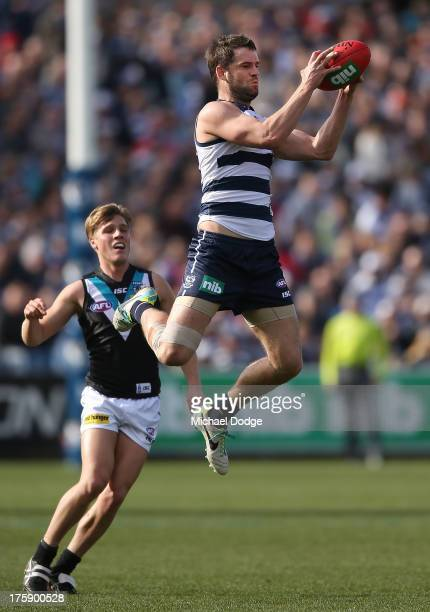 Jared Rivers of the Cats marks the ball during the round 20 AFL match between the Geelong Cats and Port Adelaide at Simonds Stadium on August 10 2013...