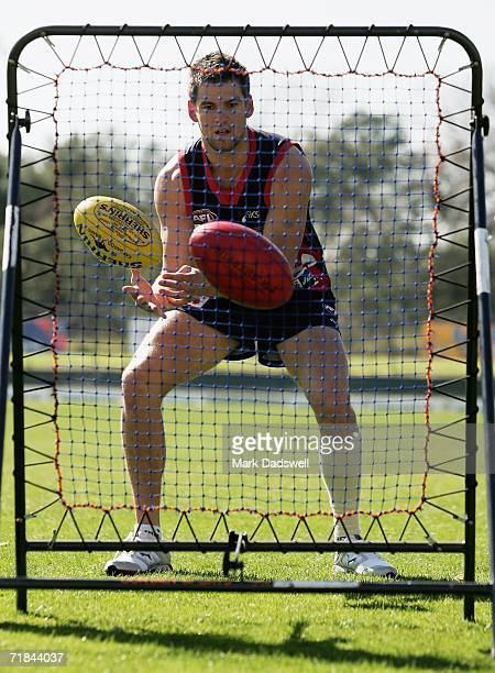 Jared Rivers of the Demons practices his ball skills during the Melbourne Football Clubs training session at the Junction Oval on September 11 2006...