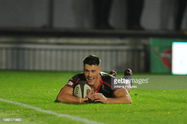 Jared Rosser of Dragons scores his sides first try during the Guinness Pro14 Round 09 match between the Dragons and Edinburgh at Rodney Parade...