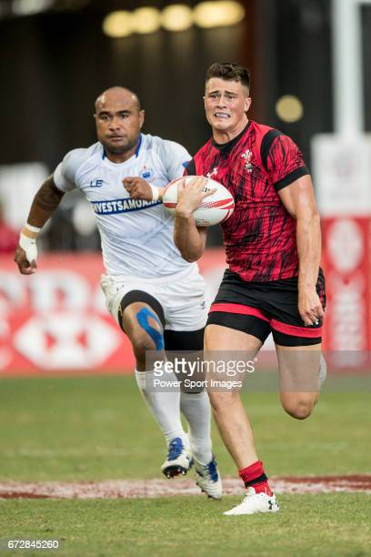 Jared Rosser of Wales runs with the ball during the match Wales vs Samoa Day 2 of the HSBC Singapore Rugby Sevens as part of the World Rugby HSBC...