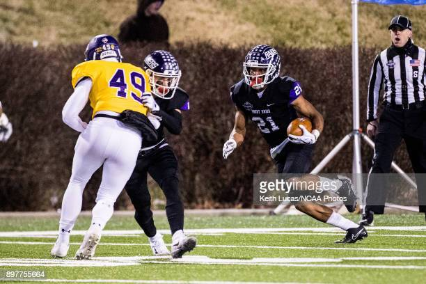 Jared Ruth of the University of Mount Union returns a punt during the Division III Men's Football Championship held at Salem Stadium on December 15...