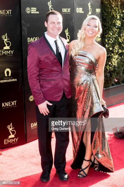Jared Safier and Tara Talkington attend the 2018 Daytime Creative Arts Emmy Awards at Pasadena Civic Center on April 27 2018 in Pasadena Texas