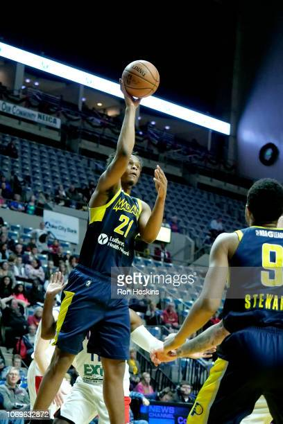 Jared Sam of the Fort Wayne Mad Ants shoots the ball against the Long Island Nets on December 7 2018 at Allen County War Memorial Coliseum in Fort...