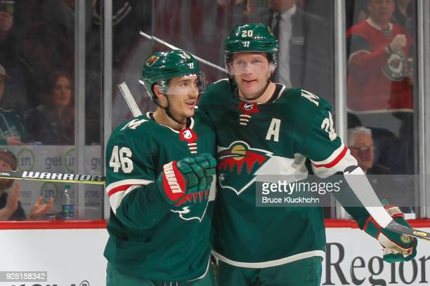 Jared Spurgeon celebrates his goal with teammate Ryan Suter of the Minnesota Wild against the St Louis Blues during the game at the Xcel Energy...