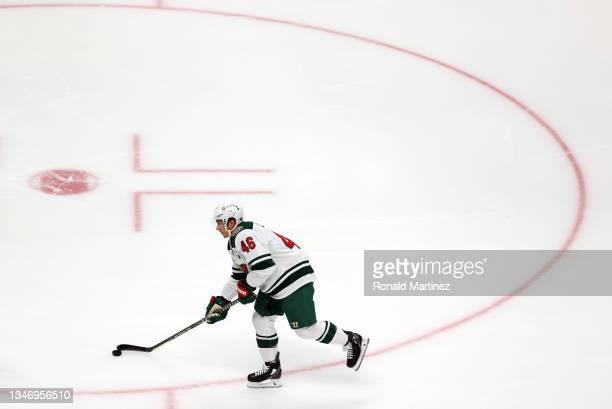 Jared Spurgeon of the Minnesota Wild at Honda Center on October 15, 2021 in Anaheim, California.