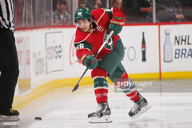Jared Spurgeon of the Minnesota Wild clears the puck against the New York Rangers during the game on April 2 2015 at the Xcel Energy Center in St...