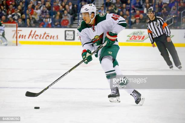 Jared Spurgeon of the Minnesota Wild controls the puck during the game against the Columbus Blue Jackets on March 2 2017 at Nationwide Arena in...