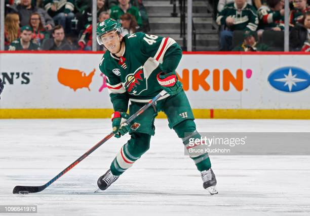 Jared Spurgeon of the Minnesota Wild dumps the puck during a game with the Winnipeg Jets at Xcel Energy Center on January 10 2019 in St Paul Minnesota
