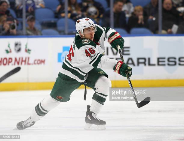 Jared Spurgeon of the Minnesota Wild during the game against the Buffalo Sabres at the KeyBank Center on November 22 2017 in Buffalo New York