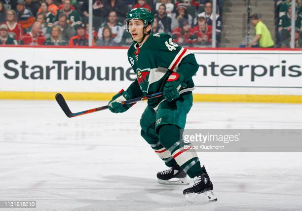 Jared Spurgeon of the Minnesota Wild follows the play during a game with the Colorado Avalanche at Xcel Energy Center on March 19 2019 in St Paul...