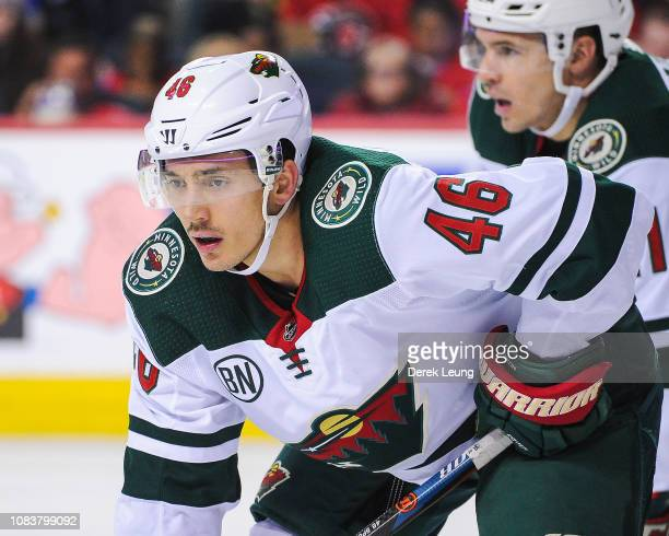 Jared Spurgeon of the Minnesota Wild in action against the Calgary Flames during an NHL game at Scotiabank Saddledome on December 6 2018 in Calgary...