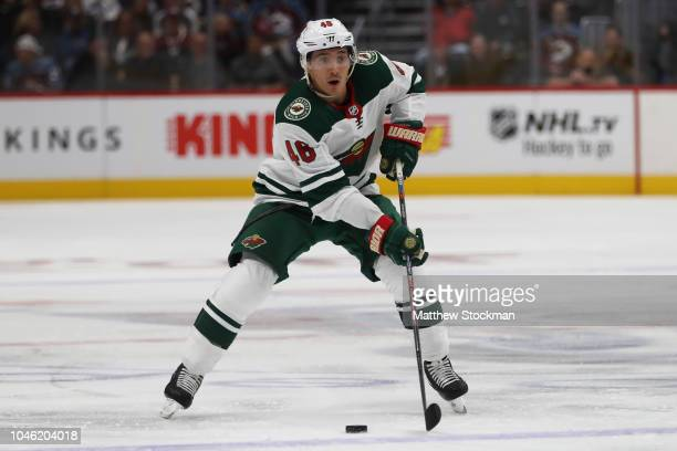 Jared Spurgeon of the Minnesota Wild plays the Colorado Avalanche at the Pepsi Center on October 4 2018 in Denver Colorado